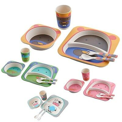 Pop Kids Tableware Child Divided Plate Bowl Cup Spoon Cutlery Dining Food Dish