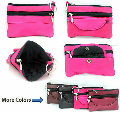 Leather Women Ladies Girls Zipper Bag Money Cards Purse Wallet with Keyring Coin