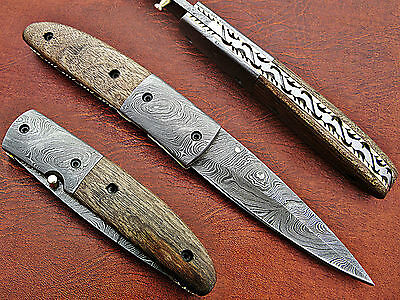 Folding Knife For Sale Handmade Damascus Steel Folding Blade Hunting Knife