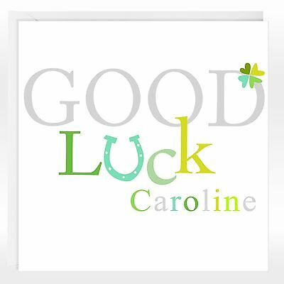 GOOD LUCK GREETINGS CARD - Personalised, Shamrock, Add any name, Modern
