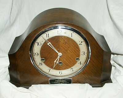1940s SMITHS Enfield Oak Cased Chiming Mantel Clock