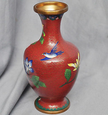 Vase in Cloisonné, rot, China