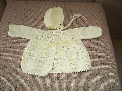 New Hand Crochet Baby Jacket & Bonnet Lemon   0- 3 Months Approx