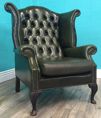Vintage Superior Quality Green Leather Chesterfield Armchair Library Chair