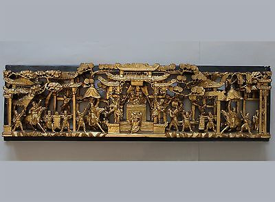 Early 20th Century Chinese Hand Carved Gilt Wood Wall Panel