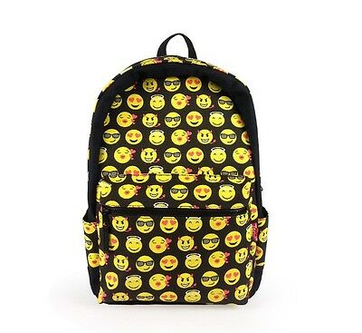 Black Smiley Emoji Backpack Funny Emoticon Pack School Shoulder Bag Boys Girls