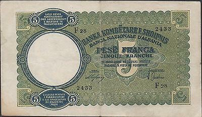 Albania 5 Franga  ND. 1939 P 6a  Circulated Banknote