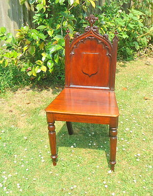 """REGENCY"" Hall Chair with GOTHIC Carved Shield Shaped Splat of Foliate.  c1800"