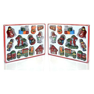 2 Pack of 12 Traditional Wooden Christmas Tree Decorations Party Supply