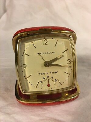 Awesome Red Vintage Westclox 'time 'n Temp' Travel Alarm Clock With Temperature