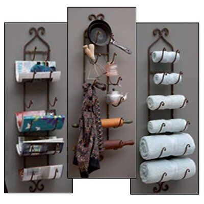 Cast Iron Brown Finish Wine Bottle Rack Bath Towel Holder Wall-Mount Home Decor