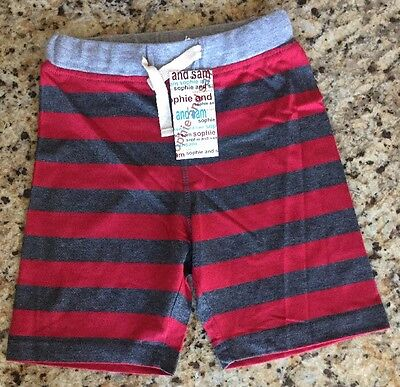 New! Sophie And Sam 100% Cotton Red/grey Boys Size 3T Striped Shorts 3 Toddler
