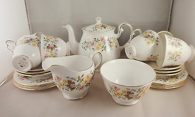 Colclough Hedgerow China Tea Set - 6 person - Honeysuckle Rose Flowers