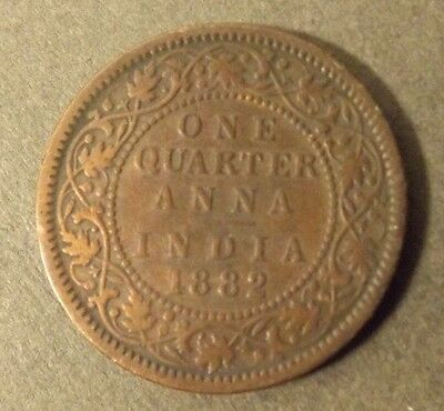 India  One Quarter Anna Coin Dated 1882