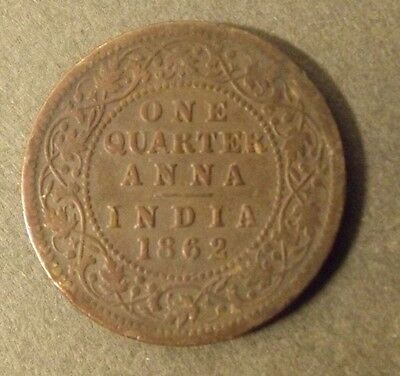 India  One Quarter Anna Coin Dated 1862