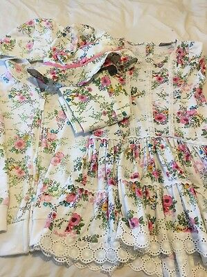Girls Next Floral Tunic, Hoody, Leggings And Hat Set. 4-5 Years.