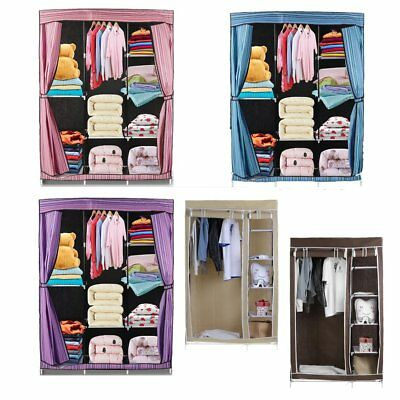 Double Triple Canvas Folding Close Wardrobe Cupboard Hanging Clothes Storage ED