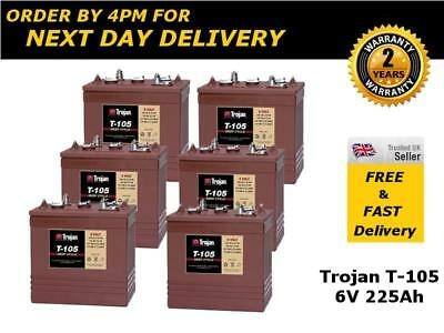 6x Trojan T105 Golf Trolley  Deep Cycle Batteries 6V 225Ah - 2 Yrs Wnty