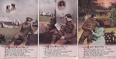 """WWI-  """"I JUST WANT YOU""""  Bamforth 'Song' Cards. Set of three."""