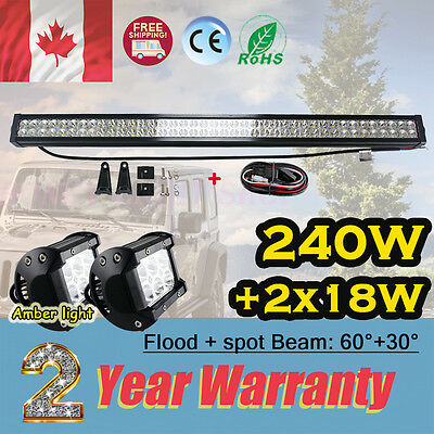 24inch 240W led work light bar Headlights + 18w cree amber light SUV pickup 9V