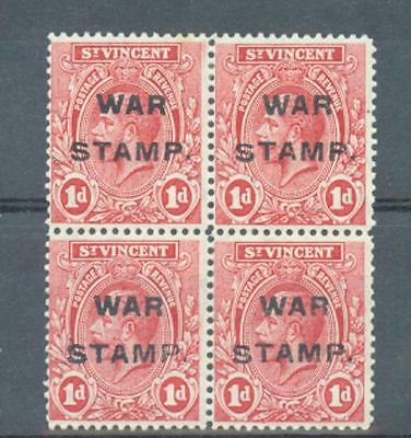 St Vincent 1916 War Tax sg.124 block of 4 top two MH bottom two MNH