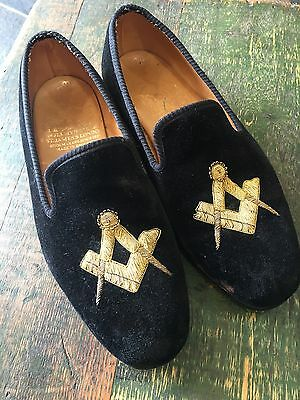 VINTAGE TRICKERS SLIPPERS BLACK VELVET EMBROIDERED MASONIC GOLD THREAD Leather