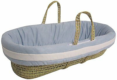 Baby Doll Bedding Suede Hotel Moses Basket Set, Blue/White