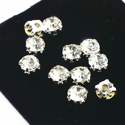 100x Crystals Rhinestone Loose Beads Faceted Beads for Sewing on Clothes 8mm