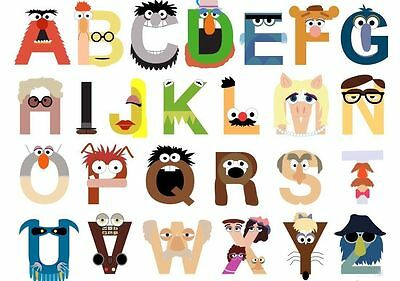 """00152 Kids Alphabet Learning Chart """" The Muppets"""" Image Poster Print Laminated"""
