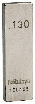 """Mitutoyo 0.13"""" Rectangular Steel Gage Block Accuracy Grade AS-1, Includes Cer..."""