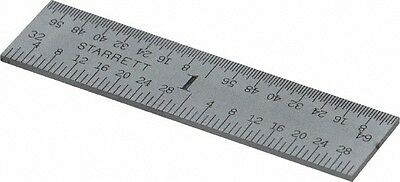 "Starrett 2"" Long, 1/64, 1/32, 1/16, 1/8"" Graduation, Rigid Spring Steel Rule ..."