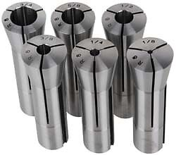 Lyndex 6 Piece, 1/8 to 3/4 Inch Capacity, R8 Collet Set Increments of 1/8 Inch