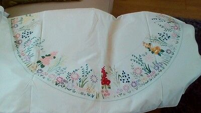 Vintage hand embroidered tablecloth. Flowers