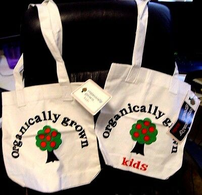 vintage 1st Organically Grown Kids 2 mint Tote bags 1 sample/1 stock w tags logo