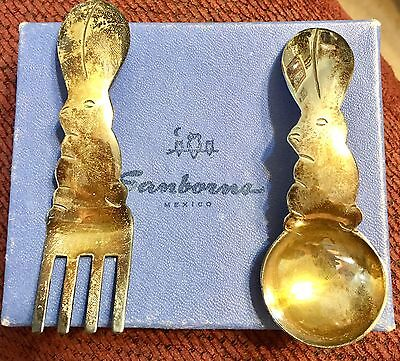 Vintage Sanborns Childrens Sterling Silver Rabbit Spoon Fork Set In Orig Box