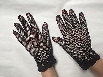New Vintage Look Adult Black Crochet Gloves (Boutross Imports Since 1894):GL1021