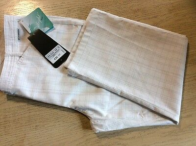 Catmandoo Ladies Capri Trousers Size 38 (10-12) White Check