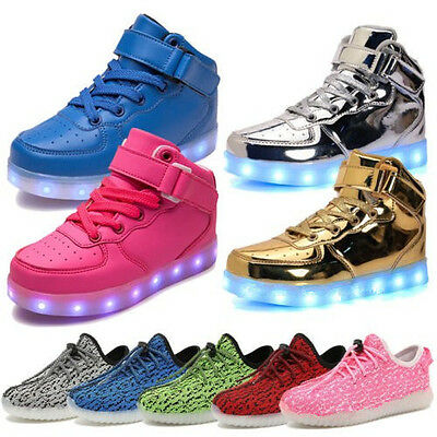 Boys Girls LED Light Up Luminous High Top Shoes Kids Children Trainers Sneakers