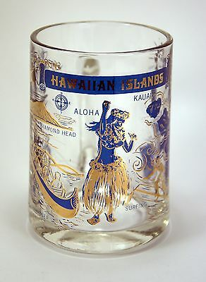 Vintage Hawaii Heavy Glass Beer Mug with Gold & Blue Images Hawaiian Surfer Hula