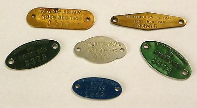 6 VINTAGE 1950's  WV DOG LICENSE TAX & RABIES TAGS <HARRISON, TAYLOR, LEWIS Co>