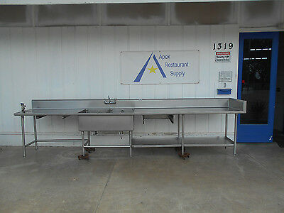 """Arriva 14' 6"""" 2 Compartment Stainless Sink w/ Undershelf and Drainboards #2333"""