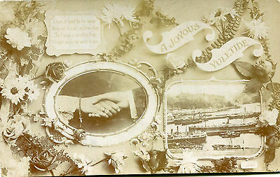 1900s postcard Hands across the sea from New Zealand