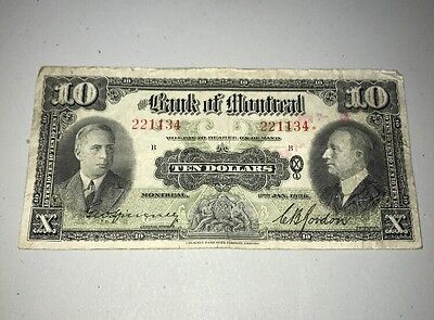 Bank Of Montreal 1938 January $10 Ten Dollar Note