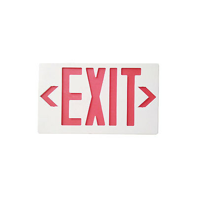 New LED Emergency Exit Light Sign w/ Battery Backup Red Letters 120/277V