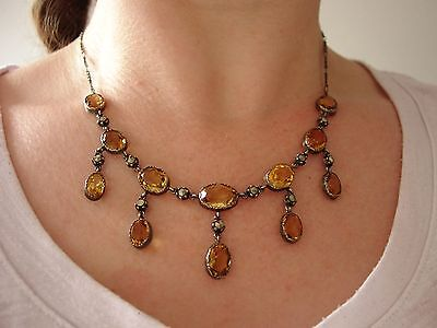 Antique Citrine, Marcasite & Sterling Silver Necklace, Victorian - Edwardian
