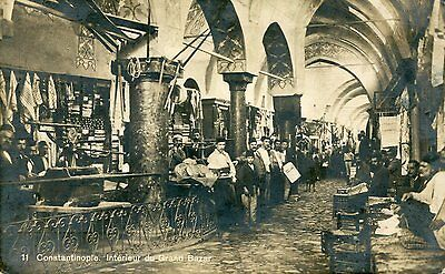 1900s postcard Inside the Grand Bazar CONSTANTINOPLE Turkey