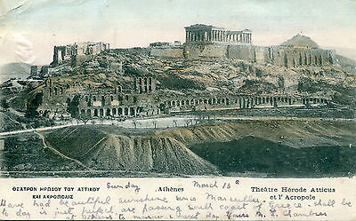 1900s postcard Theatre Hérod Atticus and Acropolis ATHENS Greece