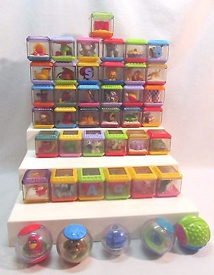 FISHER PRICE Peek A Boo Blocks 42 Clear See Through Blocks With Objects Inside