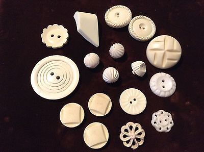 Job Lot Of White Pattern Detail Old/vintage Buttons. Assorted