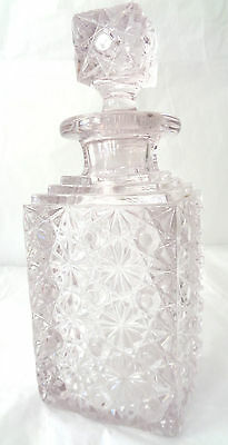 Decanter with Stopper LilacTint Pressed Glass Buttons and Daisies Pattern